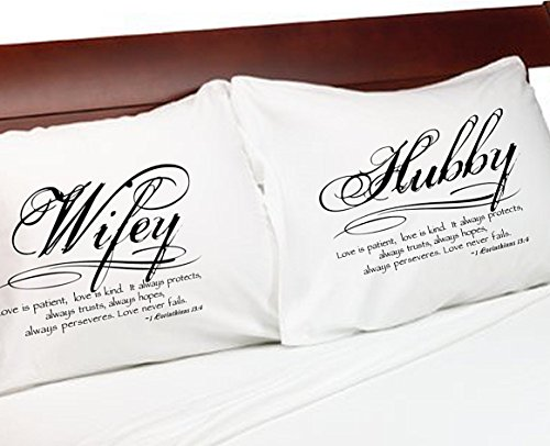1 Corinthians 13 Love Bible Verse Pillow Cases - Wife Husband Wifey Hubby Bedroom Pillowcases (Standard, White-Non-Personalized)