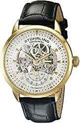 Stuhrling Men's 133.33352 Symphony Automatic Gold Plated Black Leather Strap Watch