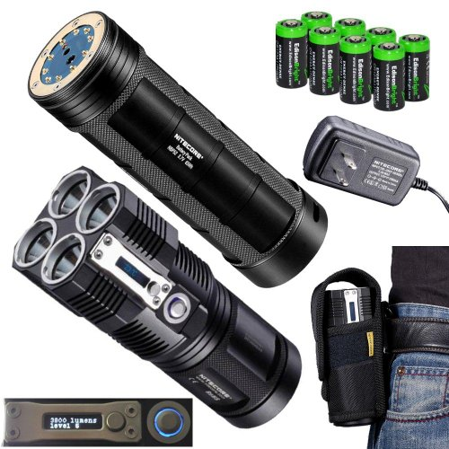 Nitecore Tiny Monster Tm26 Quadray 3800 Lumen Quad Cree Xm-L2 Led Flashlight / Searchlight With Nitecore Nbp52 Rechargeable Battery Pack And 8 X Edisonbright Cr123A Lithium Batteries Package