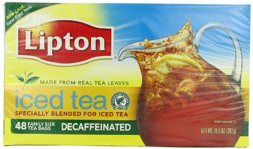 Lipton Iced Tea Bags, Decaffeinated, Family Size 48 Count,  Ounce Boxes (Pack of 3) 10.5