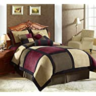 7 Pieces Brown Burgundy And Black Micro Suede Patchwork **Removable Cover** Comforter Set Bed-in-a-bag Set King...