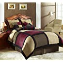 7 Pieces Brown Burgundy And Black Micro Suede Patchwork Removable Cover Comforter Set Bed In A Bag Set King