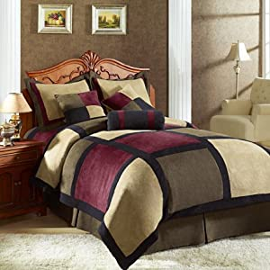Chezmoi Collection Micro Suede Patchwork 7-Piece Comforter Set, King, Brown/Burgundy/Black