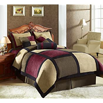Micro suede patchwork comforter by Chezmoi Collection, 1 Comforter: 90