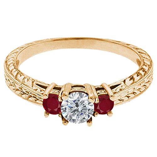 0.58 Ct Round G/H Diamond Red Ruby 18K Yellow Gold 3-Stone Ring