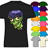 Worms In Zombie Head Halloween Mens Cotton Short Sleeve T-Shirt Various Colours Available - Sizes S M L XL 2XL XXL 3XL XXXL