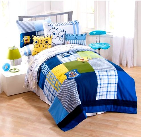 5pc blue yellow spongebob squarepants twin quilt