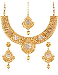 I Jewels 24K Gold Plated Traditional Jewellery Set With Maang Tikka For Women MS117
