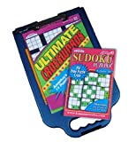 Crossword Caddy beanbag lap desk stores puzzles and provides a comfortable work table for your lap. Doubles as a clipboard with storage