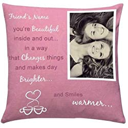 Personalize Name n Image Cushion - Cushion 1, Filler 1, Personalise Cushion for Friend, Home Décor Gifts, Cushions Online, Personalise Gifts for friend - GIFTS9178