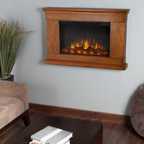 Real Flame Real Flame Jackson Slim Line Wall Hung Electric Fireplace - Pecan, Brown, Solid Wood And Veneered Mdf