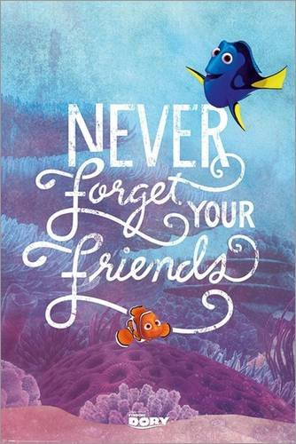 Poster Finding Dory - Never Forget Your Friends - manifesto risparmio, cartellone XXL