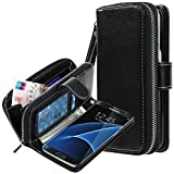 Galaxy S7 Edge Case, E LV Galaxy S7 Edge - 2IN1 ( CASE CUM PURSE) PU Leather flip Wallet Bag Pouch Case Cover For Samsung Galaxy S7 Edge - [BLACK]