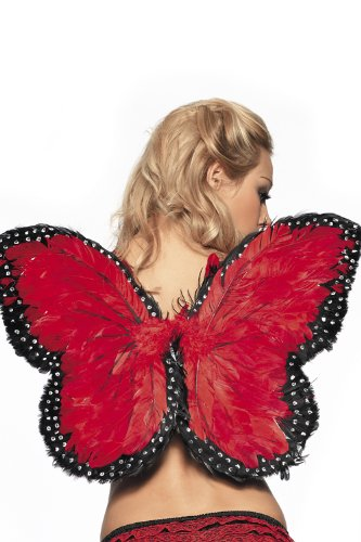 Costume Adventure Women's Red Feather Butterfly Wings
