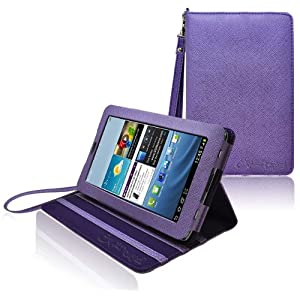 CrazyOnDigital Stand Leather Case For Samsung Galaxy Tab 2 7.0 (Purple)