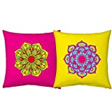 Best Festival Gifts Diwali Christmas New Year Set Of 2 Colourful Printed Polyester 12X12 Colourful Rangoli Bright...