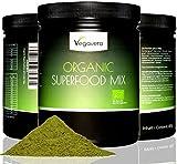 SUPERFOOD MIX normal 480 g de VegaVital, 100% BIO, CALIDAD DE LOS ALIMENTOS RAW, 15 súper diferente incl. Moringa oleífera, Matcha, hierba de trigo, cebada forrajera, vegano, la calidad 100g de Alemania
