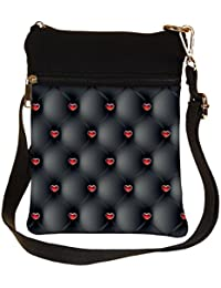 Snoogg Red Small Hearts Cross Body Tote Bag / Shoulder Sling Carry Bag