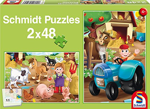 SCHMIDT Child 2 x 48 Farm Animals Puzzle (48-Piece)