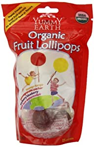 YummyEarth Organic Lollipops, Assorted Flavors (15 Count), 3-Ounce Pouches (Pack of 6)