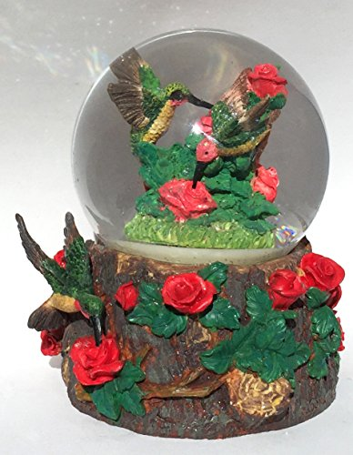 Red Roses Hummingbird Musical Snow Globe Glitterdome 100mm
