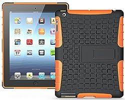 Heartly Flip Kick Stand Hard Dual Armor Hybrid Bumper Back Case Cover For Apple iPad Mini 2 and iPad Mini 3 Tablet With Retina Display - Orange