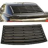 Window Louver Fits 2010-2015 Chevrolet Camaro | Unpainted Black PUR Rear Shade Rain Sun Guard Wind Vent Air Deflector by IKON MOTORSPORTS | 2011 2012 2013 2014