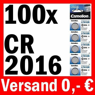 100 x CAMELION cR2016 pILE bOUTON lITHIUM 5000LC