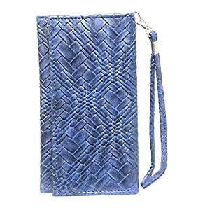 Jo Jo A5 Bali Leather Wallet Universal Pouch Cover Case For Karbonn Alfa 112  Dark Blue