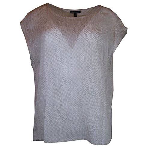 Eileen Fisher Sheer Snakeskin-Print Top, Size-M
