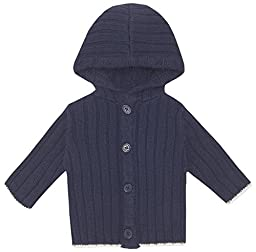 JoJo Maman Bebe Baby-Girls Newborn Rib Hooded Cardigan, Navy, 6-12 Months