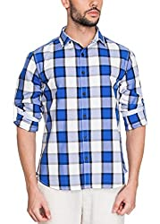 Zovi Cotton Slim Fit Casual White and Blue Checkered Shirt with Printed Placket(11895300801_X-Large)