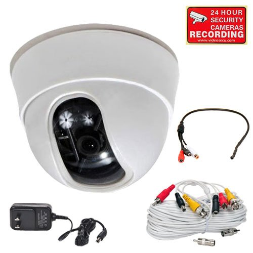 "Videosecu Dome Security Camera Built-In 1/3"" Sony Effio Ccd High Resolution 600Tvl 3.6Mm Wide View Angle Lens For Cctv Home Dvr Surveillance System With Bonus Power Supply, Audio Video Power Extension Cable And Preamp Microphone Cb9"