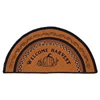 Country Style Harvest Gold, Browns and Black Jute Rug Half Circle Welcome Harvest 16.5x33