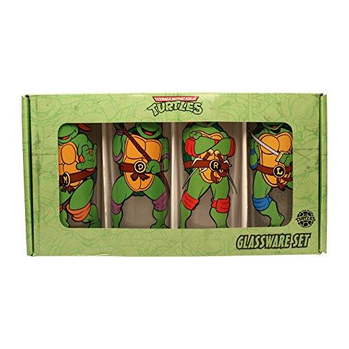 Silver Buffalo NT031T4 Nickelodeon Teenage Mutant Ninja Turtles (TMNT) Characters Pose 4 Piece Glass Tumbler Set, 10 oz, Clear (Ninja Turtles Glasses compare prices)