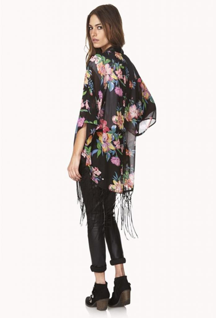 Kamaco Women Vintage Retro Ethnic Floral Tassels Loose Kimono Cardigan Coat Shawl 3