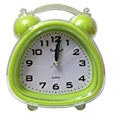 Sweet Home Simple Transparent Plastic Children/Kids/Students Twin Bell Alarm Clock (Green Triangle)