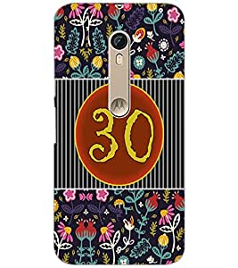 PrintDhaba Numerology Number 30 D-3119 Back Case Cover for MOTOROLA MOTO X PURE EDITION (Multi-Coloured)