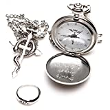 6 Different Style Fullmetal Alchemist Anime Pocket Watch & Necklace & Ring (E_Style)