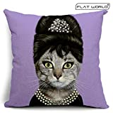 Flatworld® Decorative Elegant Creative Star Throw Pillow Case Cushion Cover Linen Cotton Natural Bed Pillow Protectors Home Decors (Purple Audrey)