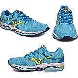 Mizuno Women's Wave Enigma 3 Running Shoe, Blue Atoll/Bolt/Blue Depths