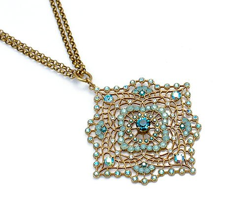 Antiqued Gold Square Filigree Necklace With Solitaire and Multi-Colored Crystals