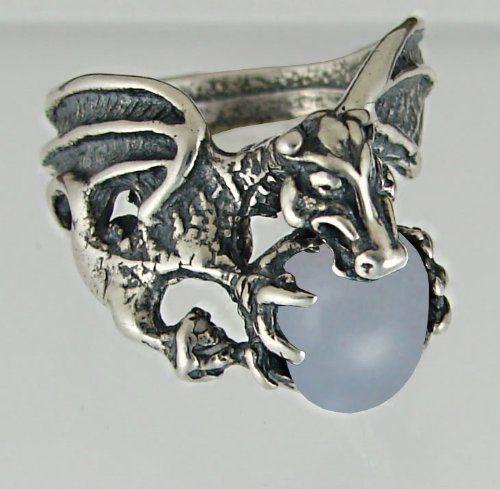 Dragon of Desire Sterling Silver Ring Accented with Genuine Blue Lace Agate Made in America