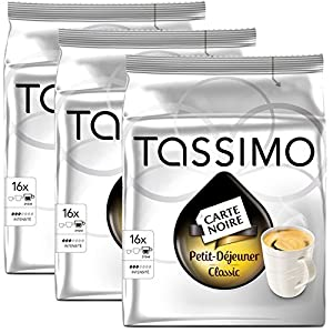 Get Bosch Tassimo 'Carte Noire - Petit Dejeuner' 16 T Disc Coffee Machine Capsules (Pack of 3) from Bosch
