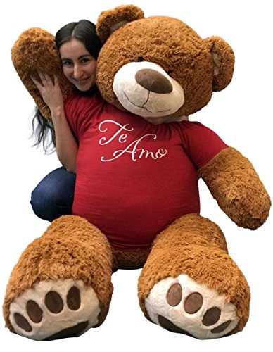 Big-Plush-5-Foot-Giant-Teddy-Bear-Wearing-TE-AMO-T-shirt-60-Inches-Soft-Cinnamon-Brown-Color-Huge-Teddybear