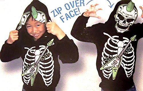 [Boy's Costume Hoodie Jacket - Punk Rock Skeleton 14/16(green Guitar)] (Boys Skeleton Sweatshirt Hoodie Costumes)