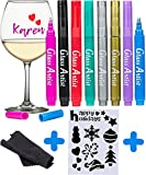 ORIGINAL Glass Artist Wine Glass Markers - Pack of 8 + Drawing Stencil, Premium Metallic Drink Markers , Wine Glass Charms, Erasable and Safe - Wine Accessories Gift