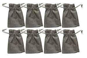 12 Säckchen aus Jute fein, naturbraun, 15 x 10 cm