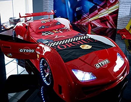 Speedster GT999 3ft super car bed - LED LIGHTS + SOUND - Red - Childrens kids boys beds