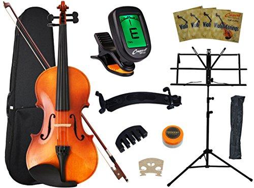 Crescent 4/4 Full Size Student Violin Starter Kit(Bow, Rosin, Case, Music Stand, Shoulder rest, E-Tuner